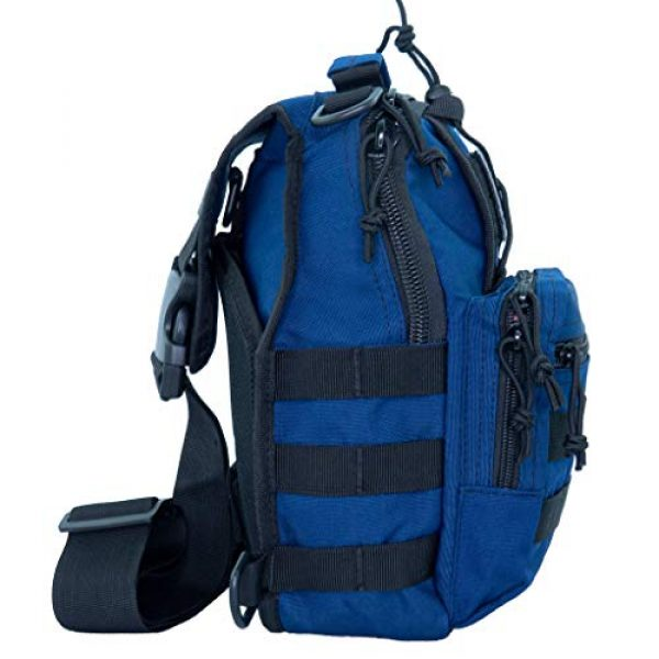 LINE2design Tactical Backpack 7 LINE2design Complete Sling Backpack Kit - EMS EMT Trauma First Aid Emergency Response Fully Stocked Survival Molle Kit - Stop Bleeding Safety Rescue Perfect Upgraded Outdoor Shoulder Bag Pack - Navy