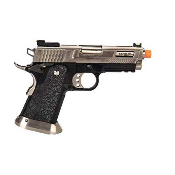 Lancer Tactical Airsoft Pistol 2 Lancer Tactical WE-Tech Hi-Capa 3.8 Brontosaurus Full Auto Gas Blowback Airsoft Pistol Silver