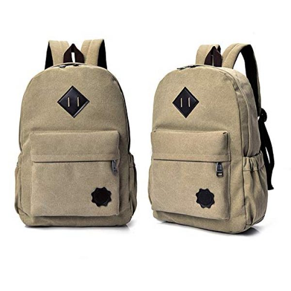 """J&Q Tactical Backpack 2 J&Q Casual High Capacity Canvas Vintage Backpack - for School Hiking Travel 12-17"""" Laptop"""