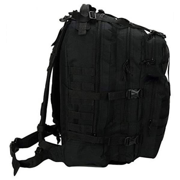 """NPUSA Tactical Backpack 5 Mens Large 21"""" Tactical Gear Molle Hiking Hydration Ready Backpack Daypack Bag + Key Ring Carabiner"""