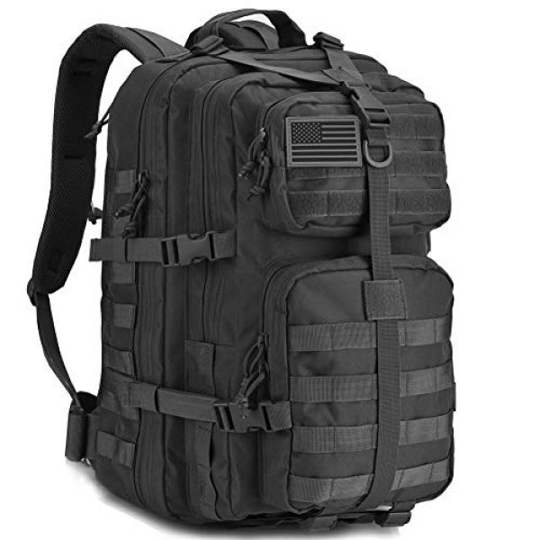 REEBOW GEAR Tactical Backpack 1 REEBOW GEAR Military Tactical Backpack Large Army 3 Day Assault Pack Molle Bug Bag Backpacks Rucksacks for Outdoor Sport Hiking Camping Hunting 40L Black