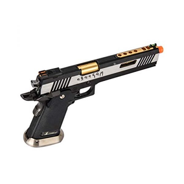"""Lancer Tactical Airsoft Pistol 3 Lancer Tactical WE-Tech Hi-Capa 6"""" IREX Full Auto Competition GBB Airsoft Pistol Black Silver Gold with Markings"""