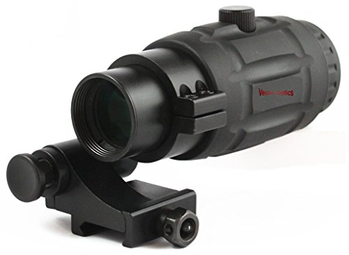 TAC Vector Optics Rifle Scope 1 TAC Vector Optics Rubber Armored 3X Magnifier Holographic Red Dot Sight Scope Flip to Side QD Weaver Mount Color Black