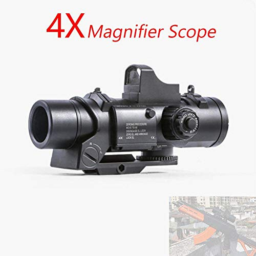 Fightsong Rifle Scope 5 Fightsong 4X Magnifier Scope Red Dot Sight Magnifier Universal for Gel Ball Blaster Toy Outdoor Camping Travel Magnifier