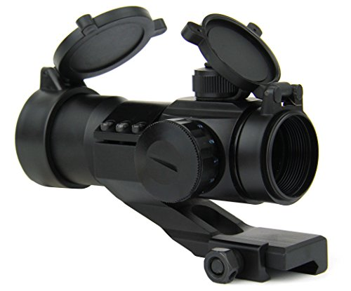 TacFire Rifle Scope 4 TacFire 1 x 30mm Tactical Dot Rifle Scope Sight with Cantilever Weaver Mount, Red/Green