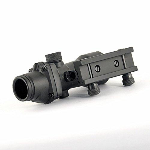 Alrebeto Rifle Scope 3 CL-SPORTS Alrebeto ACOG Type 1X32 Tactical Green or RED Dot Sight Real Green Fiber Optic Riflescope (Red Dot)