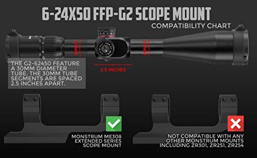 Monstrum Rifle Scope 7 Monstrum G2 6-24x50 First Focal Plane FFP Rifle Scope with Illuminated Rangefinder Reticle and Parallax Adjustment