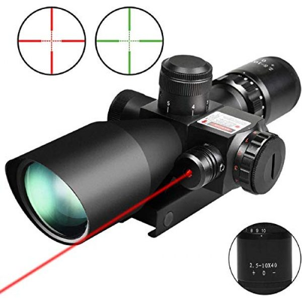 QILU Rifle Scope 2 QILU 2.5-10x40 Rifle Scope - Illuminated Red & Green Mil-dot Reticle