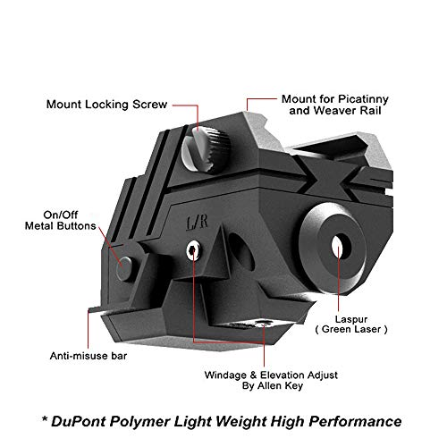 Laspur Rifle Laser Sight 4 Laspur USA Mini Sub Compact Tactical Rail Mount Low Profile Laser Sight with Build-in Rechargeable Battery for Pistol Rifle Handgun Gun