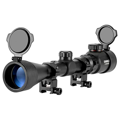 OMMO Rifle Scope 1 OMMO 3-9X40 Rifle Scope, Red Green Illuminated Optical Mil-Dot Riflescope for Hunting, with Flip-Open Covers