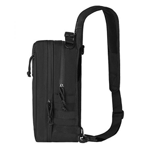 MOSISO Tactical Backpack 5 MOSISO Tactical Backpack, 2 Layer Chest Slingbag 600D Polyester Military Army Assault Molle Rucksack Shoulder Bag for Outdoor Sports Hiking Hunting Fishing Camping Training, Black