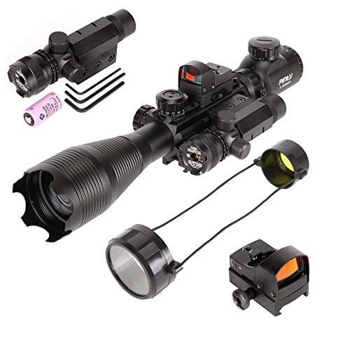Pinty Rifle Scope 1 Pinty Rifle Scope 4-16x50, Illuminated Optics, Green Laser, Red-Coating Reflex Mini Sight