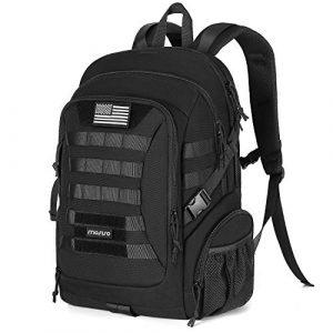 MOSISO Tactical Backpack 1 MOSISO Tactical Backpack, 2-Layer Multifuntional Large Molle Rucksack Daypack Adjustable Shoulder Back Pack Bag with Side Bottle Holder/USA Flag for Sport Outdoor Hiking Camping Training, Black