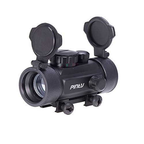 Pinty Rifle Scope 1 Pinty 30mm Reflex Red Green Dot Sight Scope 0.5 MOA with Flip Up Lens Cover Cap