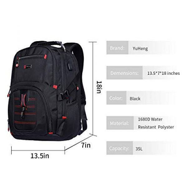 YuHeng Tactical Backpack 6 YuHeng Extra Large Backpack for Men, Water Resistant Travel Business Hiking Backpacks with USB Charging Port fits 17 Inch Laptop