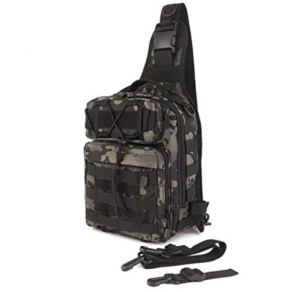 CamGo Tactical Backpack 1 Tactical Sling Backpack Fly Fishing Tackle Bag Unisex MOLLE Casual Daypack for Fishing Hunting Hiking Trvel