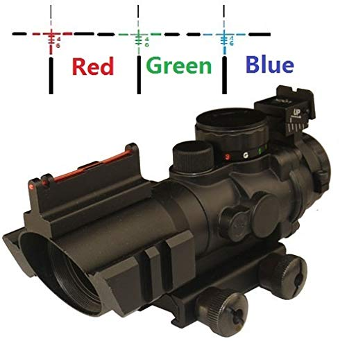 THEA Rifle Scope 2 THEA Prism 4x32 Red/Green/Blue Triple Illuminated Rapid Range Reticle Rifle Scope W/Top Fiber Optic Sight and Weaver Slots (12 Month Warranty)