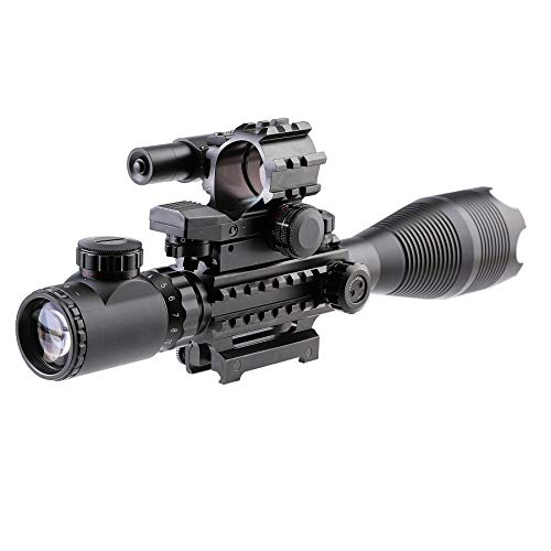 Letra Rifle Scope 4 Letra 4-in-1 4-16x50 EG Riflescope Kit, Dot Laser, Reflex Sight, Offset Rail Mount
