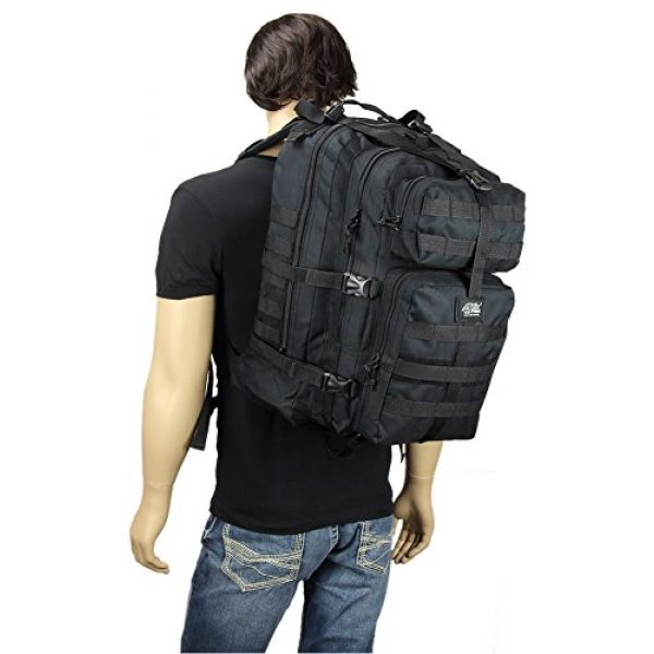 """NPUSA Tactical Backpack 4 Mens Large 21"""" Tactical Gear Molle Hiking Hydration Ready Backpack Daypack Bag + Key Ring Carabiner"""