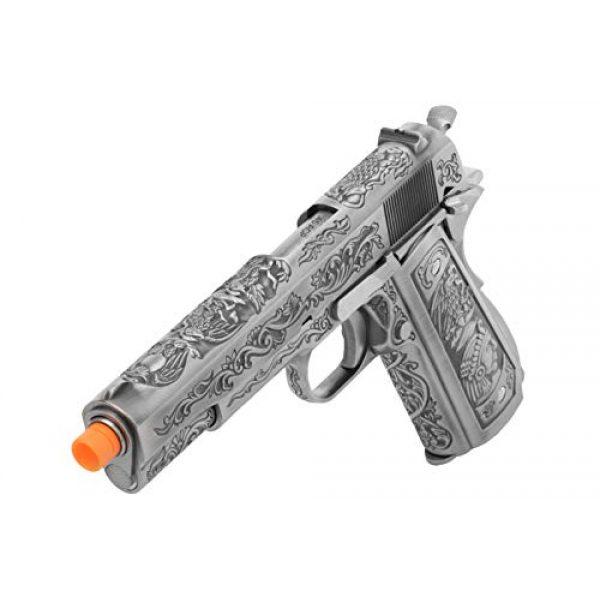Lancer Tactical Airsoft Pistol 5 Lancer Tactical WE Full Metal Airsoft Gas Blowback Floral Pattern Pistol 1911 Silver