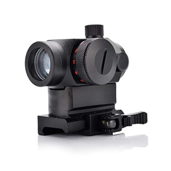 KTAIS Rifle Scope 6 KTAIS Tactical Hunting QD 1X22 Reflex Red&Green Dot Scope Sight with Quick Riser Mount Quick Detach Holographic Collimator Dot Scopes (Color : Black)