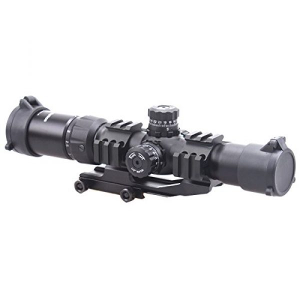 Vector Optics Rifle Scope 4 Vector Optics 1.5-4x30mm 1/2 MOA Tactical Riflescope with Red, Green & Blue Illuminated Chevron Reticle, Free 30mm One Piece Triple Rails Mount Rings (Matte Black)