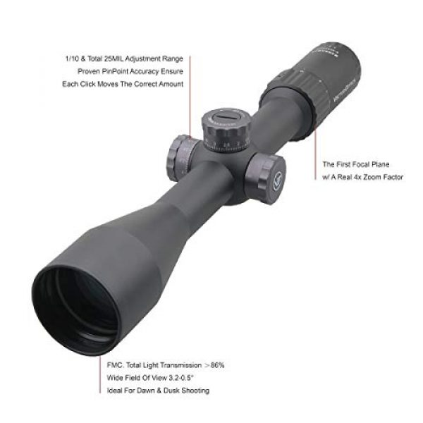Vector Optics Rifle Scope 2 Vector Optics Marksman 6-24x50 mm First Focal Plane (FFP) 1/10 MIL Hunting Riflescope with VPA-MF Reticle, 30mm Tactical Mount Rings, Lens Covers and Honeycomb Sunshade