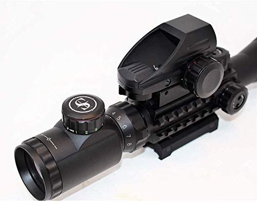 TPO Rifle Scope 3 TPO ST 4-16x50 Rifle Scope Combo Flashlight + Green Laser Sight+ 4 Holographic Reticle Red/Green Dot for Weaver/Rail Mount