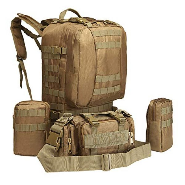 Suoki Tactical Backpack 7 Tactical Backpack 55L with Built-up 3 MOLLE Bags Rucksacks for Travelling