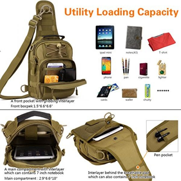 IDOGEAR SPORTS Tactical Backpack 5 IDOGEAR Tactical Sling Bag Pack Small EDC Molle Assault Military Army Shoulder Backpack