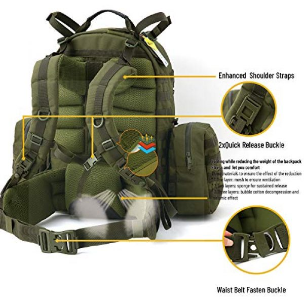 Akmax.cn Tactical Backpack 5 Military Army Backpack, MOLLE 2 Medium Rucksack with Removeable Shoulder Straps and Wasit Belt, Internal Frame