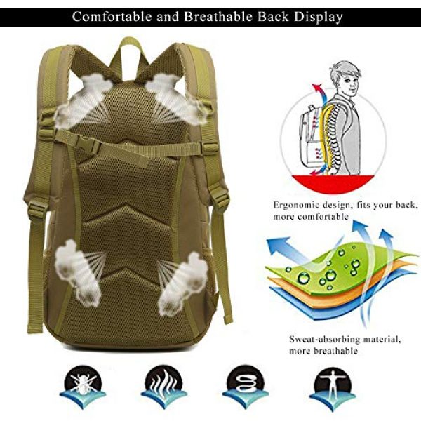 RUI NUO Tactical Backpack 4 RUI NUO 35L Military Backpack Tactical Backpack Army Backpack MOLLE Assault Backpack Tactical Combat Backpack Emergency Bag for Hunting Hiking Camping & Outdoor Activity