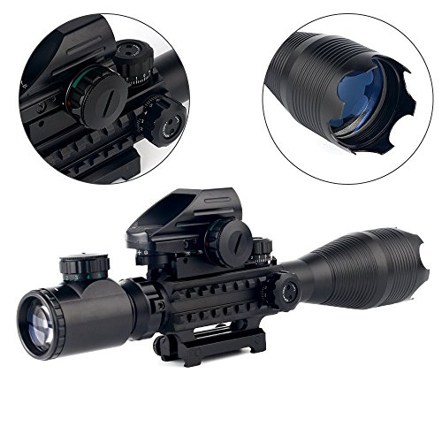 THEA Rifle Scope 4 THEA 4-16x50 Tactical Rifle Scope Red/Green Illuminated Range Finder Reticle W/Green Laser and Holographic Reflex Dot Sight (12 Month Warranty)