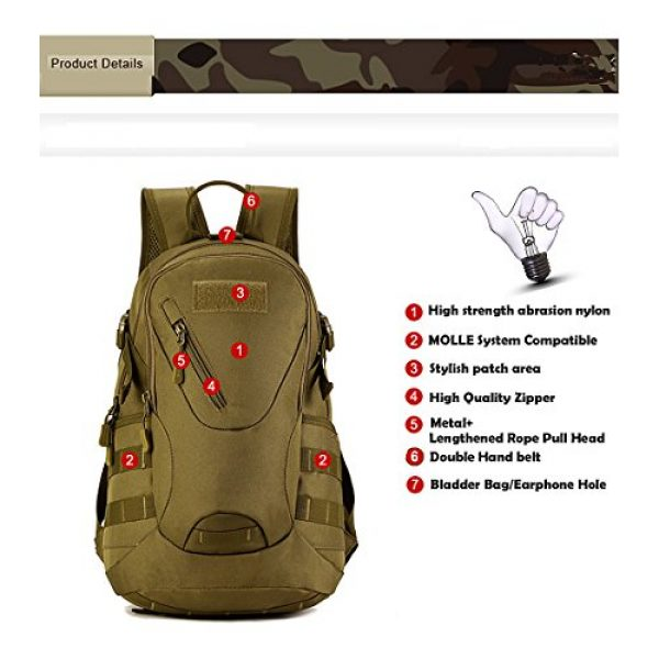 CREATOR Tactical Backpack 5 CREATOR 20L Tactical Backpack Travel Daypack Outdoor Military Rucksack MOLLE for Men
