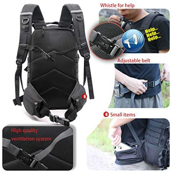 yoson.k Tactical Backpack 5 Tactical Backpack Military Army Molle Bag Black Small School Bookbag for Men Hiking Fishing Outdoor Survival