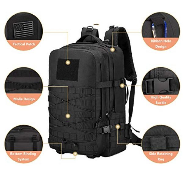 ArcEnCiel Tactical Backpack 4 ArcEnCiel Tactical Backpack Military Army 3 Day Assault Rucksack Pack 45L Molle Pack with Patch - Rain Cover Included