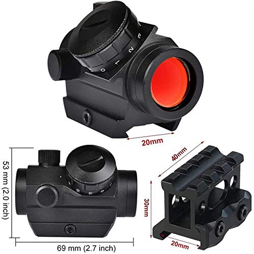 TTHU Rifle Scope 3 TTHU Mini Rifle Scopes Micro Red Dot Sight 1X25mm Reflex Sight Waterproof & Shockproof & Fog-Proof Red Dot Scope with 1 Inch Riser Mount