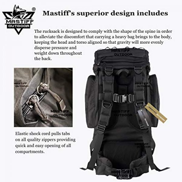 Mastiff Outdoor Tactical Backpack 5 Mastiff Outdoor Adventure Rucksack MOLLE Hiking Camping Gear Travel Survival Functional Backpack