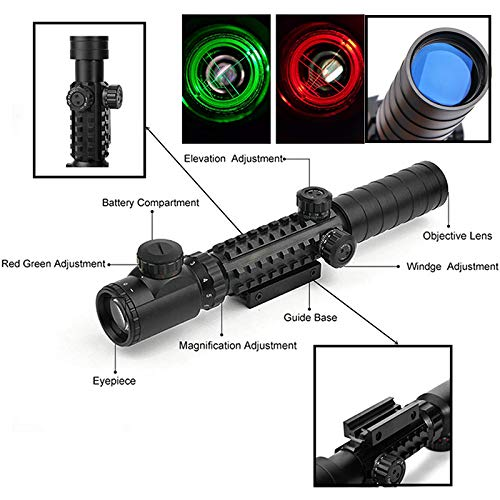Luger Rifle Scope 2 Luger Tactical 3-9X32EG Optical Dual Red Green Illuminated Crosshair Range Finder Rifle Scope with Red Green Reflex 4 Reticles Sight