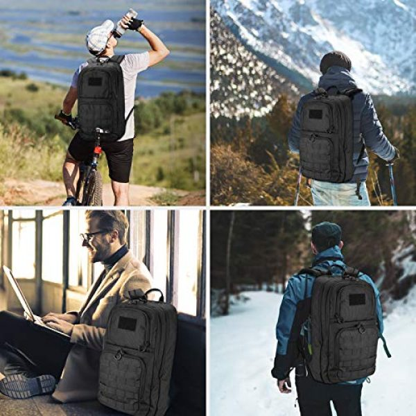 """ProCase Tactical Backpack 2 ProCase Tactical Outdoor Backpack 30L with Molle Laptop Compartment Back Panel, EDC Military Outdoors Daypack Rucksacks for Men Women Travel Hiking Riding Hunting Trekking """"Black, 1000D Nylon"""
