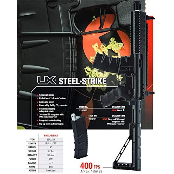 Umarex Air Rifle 6 Umarex Steel-Strike Automatic .177 Caliber BB Gun Air Rifle, Steel-Strike Air Rifle, Black (2252120)