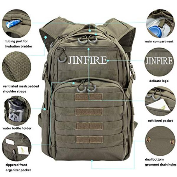 JINFIRE Tactical Backpack 7 JINFIRE Military Tactical Backpack Molle Bag Backpacks Assault Pack Army Rucksacks for Hiking, Camping, Trekking, 24.2L