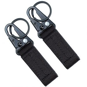 Fairwin Tactical Belt 1 Fairwin Tactical Gear Clip, Nylon Key Ring Holder or Tactical Belt Keepers Military Utility Hanger Carabiner Tactical Molle Hook, Black, Tan, Green