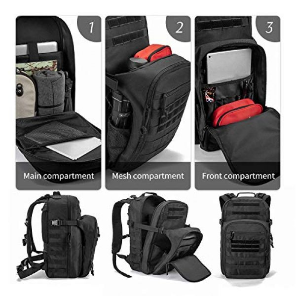 SHARKMOUTH Tactical Backpack 2 SHARKMOUTH Tactical Backpack, Large Army 3 day Assault Pack Bag Rucksack, 42L Military MOLLE Backpacks