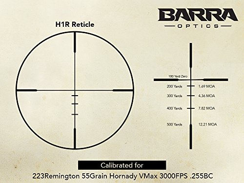 Barra Rifle Scope 4 Barra BDC Reticle Capped Turrets for Hunting and Tactical Shooting