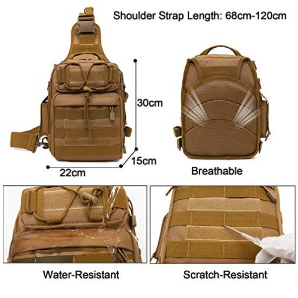 CamGo Tactical Backpack 7 Tactical Sling Backpack Fly Fishing Tackle Bag Unisex MOLLE Casual Daypack for Fishing Hunting Hiking Trvel