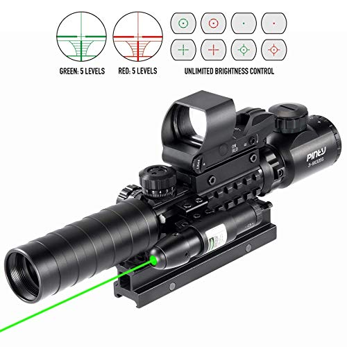 "Pinty Rifle Scope 2 Pinty Rifle Scope 3-9x32 Rangefinder Illuminated Reflex Sight Green Dot Laser Sight & 17""x11"" Handgun Cleaning Mat Detailed Pistol Diagram"