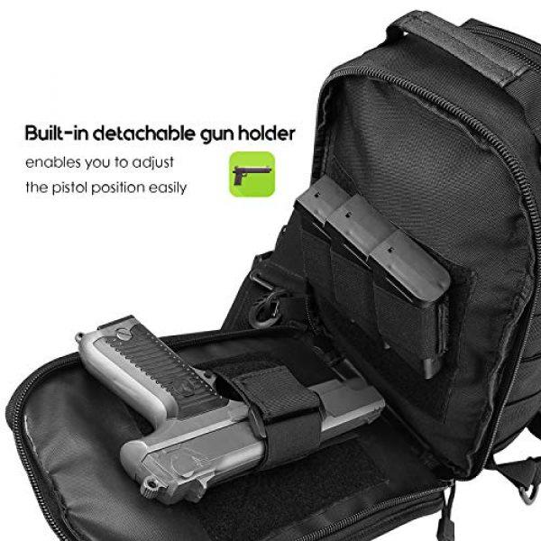 ProCase Tactical Backpack 3 ProCase Tactical Sling Bag Pack with Pistol Holster, Military Rover Sling Shoulder Backpack Outdoor Sport Daypack for Hunting, Trekking and Camping -Black