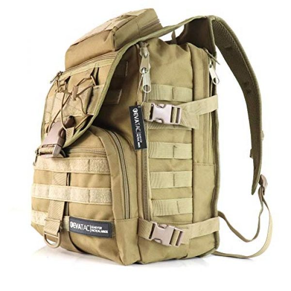 Evatac Tactical Backpack 2 Evatac Tactical Backpack for Military Combat | Large Size Khaki 35L 600D Molle Bug Out Bag Or Every Day Travel Back Pack.