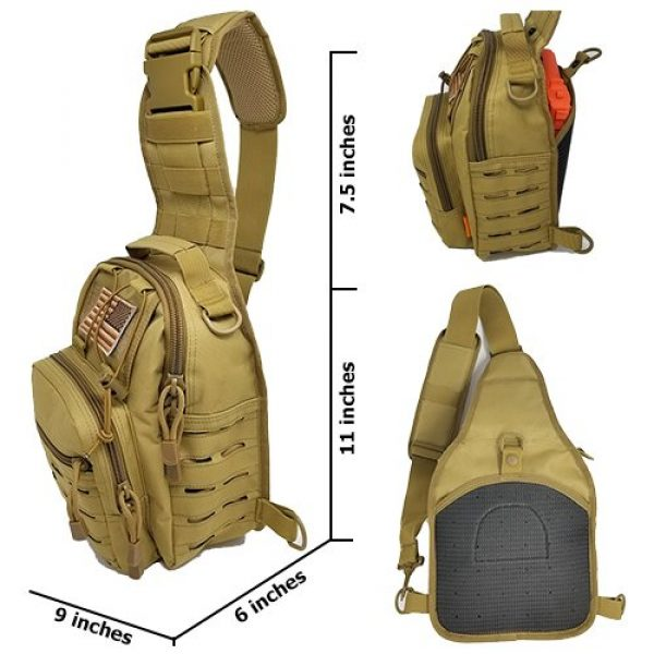 Gearrific Tactical Backpack 3 Tactical Sling Bag + Camping Shovel + G.I.D. Paracord + Flag Patch Combo - Military Day Pack, Small Backpack, Fishing, Hiking, Hunting